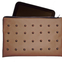 Studded Beige Leather Clutch