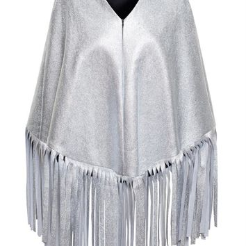 Fringed Metallic Poncho - OSMAN