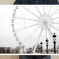 Paris Ferris Wheel Photo - Paris Photography, 16x20 Large Art Prints, White Wall Decor, Paris Decor