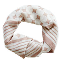 Light Tan Geometric square silk scarf