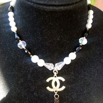 Stunning Designer Inspired Dainty Pearl Crystal Pendant Necklace