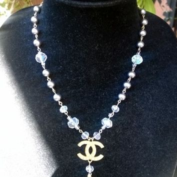 Adorable Designer Inspired Dainty Pearl Crystal Pendant Necklace