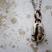 Coffee Bean Pendant Necklace. Fine Silver PMC Jewelry. Oxidized Sterling Silver Chain.