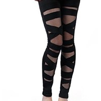 Women's Girls Ripped Cut-Out Bandage Style Leggings