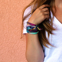 bohemian boho hippie silk ribbon bracelet / headband / necklace / anklet (summer sunset)