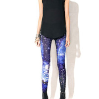 Blue Galaxy Handrinted Leggings