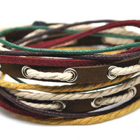 Hand-woven ethnic leather hemp bracelet BD10
