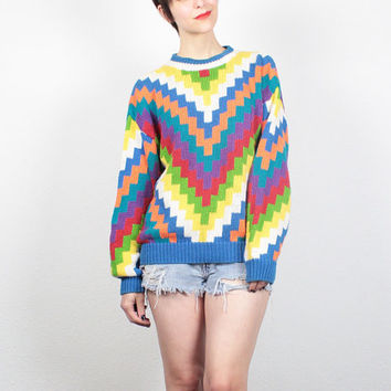 Vintage 80s Sweater 1980s Sweater Rainbow Knit Chevron Striped Pullover Boyfriend Sweater New Wave Cosby Sweater Cozy Chunky Knit L Large