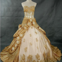A-line Strapless Chapel Train taffeta/lace Wedding Dress with flower