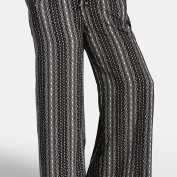 Plus Size - Printed Palazzo Pant With Tie Waist - Black Combo