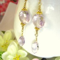 Pink amethyst coin drop marquis earrings