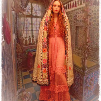 Lace wedding veil / unique vintage tribal authentic handmade ethnic hooded bridal cape in sheer white with braid and embellishment