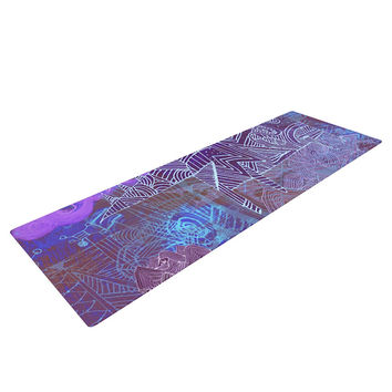 """Marianna Tankelevich """"Abstract With Wolf"""" Purple Illustration Yoga Mat"""