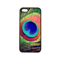 Iphone 5 Case. Peacock Feather. Pretty. blue. green. orange. glam. chic. girly. cute. iphone 5 cover. photo.