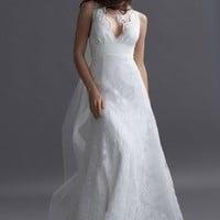 V-neck Satin Floor-length A-line Wedding Dress(AUSTWD50904) at Dressestore