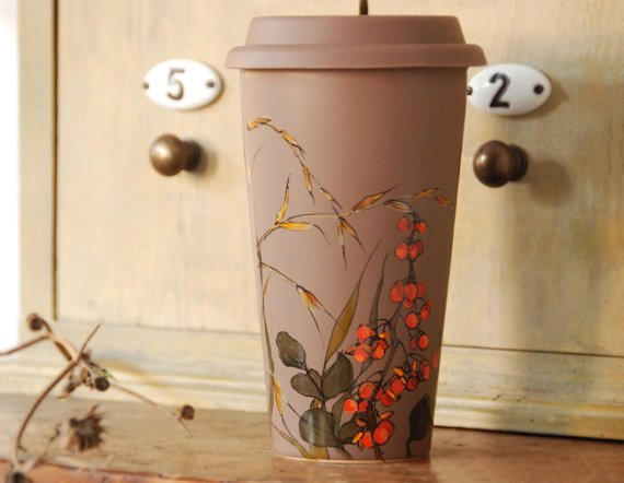 12 oz Chocolate Brown Ceramic Travel Mug   Fall by yevgenia