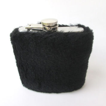 Unique Black Fur Flask, Furry Fuzzy Glam Flasks 6oz Hip Flask, Groom Gift, 21st Birthday, Bridesmaids, Flask Cover, Whiskeygirl Party Time