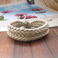 White Cotton Ropes Woven Women Leather Cuff Bracelet Men Leather Cuff Bracelet  FSL008-W