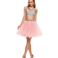 Pink Two Piece Sequin Tulle Skirt Dress 2015 Prom Dresses