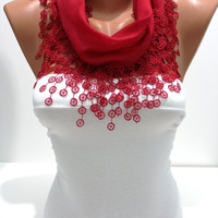 Red Cotton Shawl/Scarf-