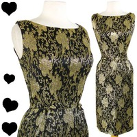 Vintage 50s 60s BROCADE Black Gold COCKTAIL Party Dress M Sheath Bows Floral | eBay