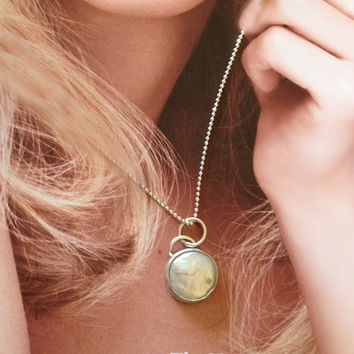 Floating Moon Coin Pearl and sterling silver Pendant, clssic jewelry, pearl necklace, silver and pearl necklace,