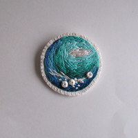 Embroidered abstract brooch with ombre colors of the sea greens and blues with shell beads Summer jewelry