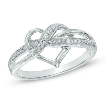 Diamond Accent Swirled Heart Ring in Sterling Silver