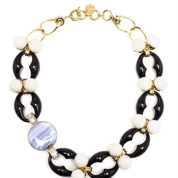 Gold-tone Brass and Marbled Necklace - VALENTINA BRUGNATELLI