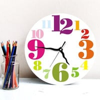 Rainbow colorful Large round wall clock hostess bright home office kitchen kids decor childrens nursery clock christmas gift under 50