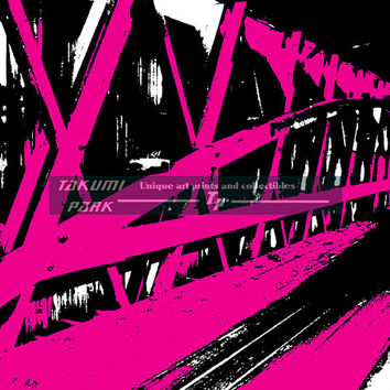 Pink Abstract Art Print Of A Covered Bridge, Modern Wall Art Print, Photo Print, Home Decor, Living Room Wall Decor, Bedroom Art Print,