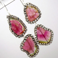 Gemstone Slice Earrings Diamond Bezel Style Swarovski Crystal Watermelon Tourmaline Statement Earrings - Emmy