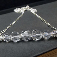Clear Crystal Necklace:  Winter Ice Beaded Bar Necklace, Long Silver Chain Necklace, Elegant Sparkle Minimalist Jewelry