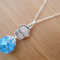 Cupcake Blue Crackle Glass Marble Necklace