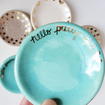 Hello Pretty Girl - Ring Dish - Ring Holder - Gold Ring Dish - Jewelry Dish - Gold Ceramics