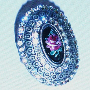 Boho Glam Rhinestone Statement Ring Hand Paint Silver Victorian Ring