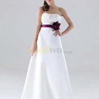 [US$198.99] A-line Strapless Floor-length Satin Bridesmaid Dress