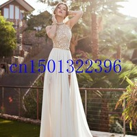 2014 New Arrival Sexy White Chiffon Beaded Appliques Lace Prom Dresses Long Halter Side Slit Spring Evening Party Gown-in Prom Dresses from Weddings & Events on Aliexpress.com | Alibaba Group