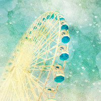 Carnival Photography, ferris wheel, dreamy, blue green, hearts, bokeh, baby, whimsical art, nursery decor, state fair - Carnival Love 8x10