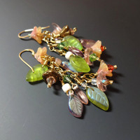 MultiColor Glass Flower Leaf Dangle Earrings Gold Filled