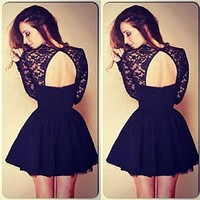 Lowpricenice Women Floral Lace Backless Evening Party Mini Dress