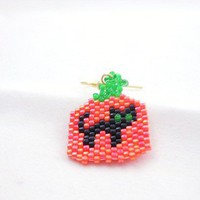 Brick Stitch Beaded Halloween Pumpkin Cat Earrings