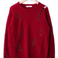 Clip Shredded Jumper in Red by Chic+ - New Arrivals - Retro, Indie and Unique Fashion