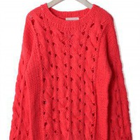 Classic Cable Knit Cut Out Jumper in Red - New Arrivals - Retro, Indie and Unique Fashion
