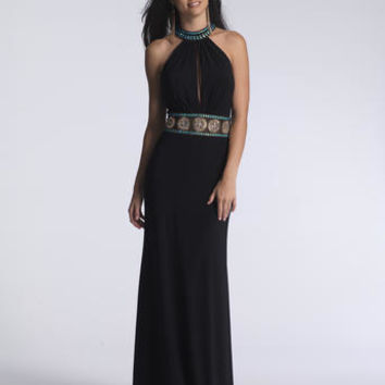 Beautiful Black halter style gown accented with Gold and Turquoise beading along the waistline, neckline, and back. #girligirlboutique