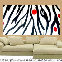 6ft by 3ft Original oil/acrylic Impasto painting 'Zebra by artmod