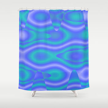 Purple And Cyan Abstract Print Shower Curtain by KCavender Designs