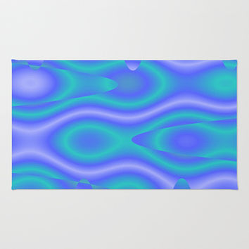 Purple And Cyan Abstract Print Rug by KCavender Designs