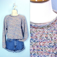 80s Cropped Sweater / Vintage 1980s Crop Sweater / m