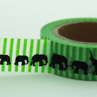 Elephant on Green stripes Washi Masking Tape Roll 11yards WT147